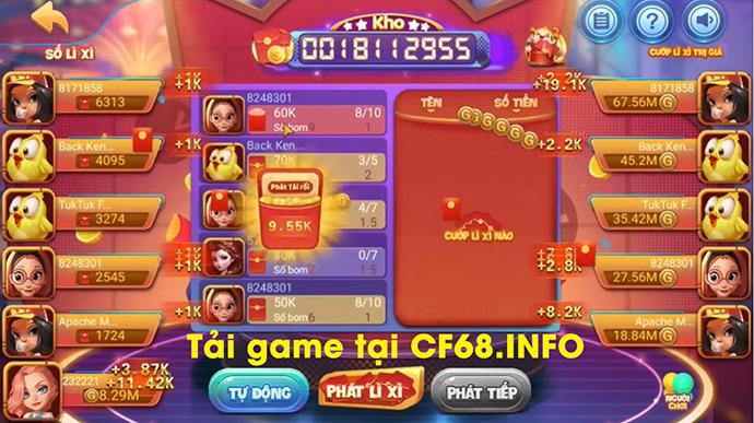 Giao diện game bom lì xì tại Cf68