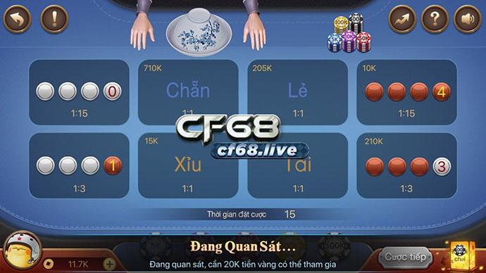Giao diện bàn chơi Xóc đĩa Cf68