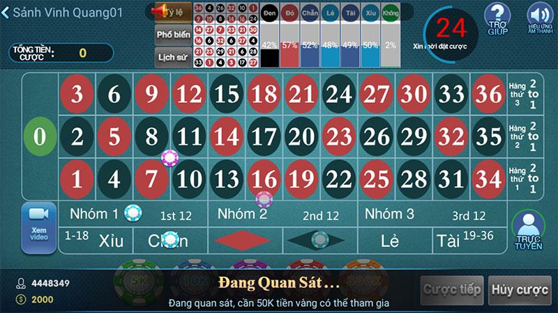 Giao diện đặt cược Roulette trực tuyến Cf68