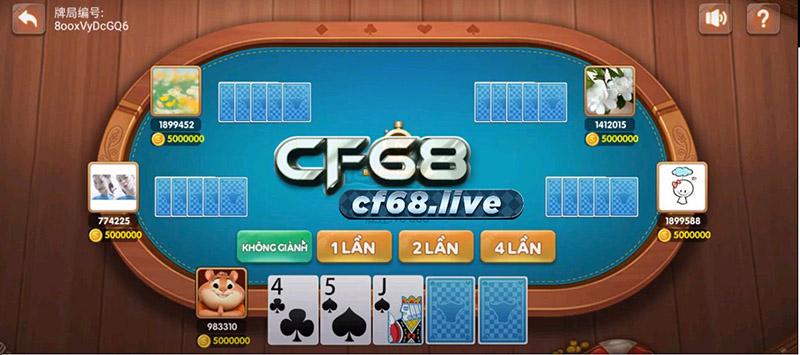 Giao diện bàn chơi Poker Bull Cf68